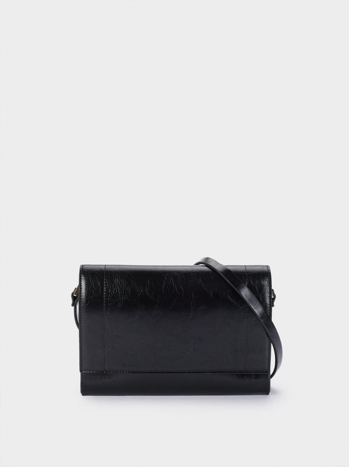 Crossbody Bag With Front Flap Fastening, Black, hi-res