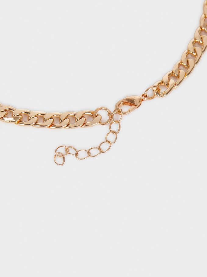 Collar Corto Dorado De Cadena Con Perla Y Cristales, Dorado, hi-res