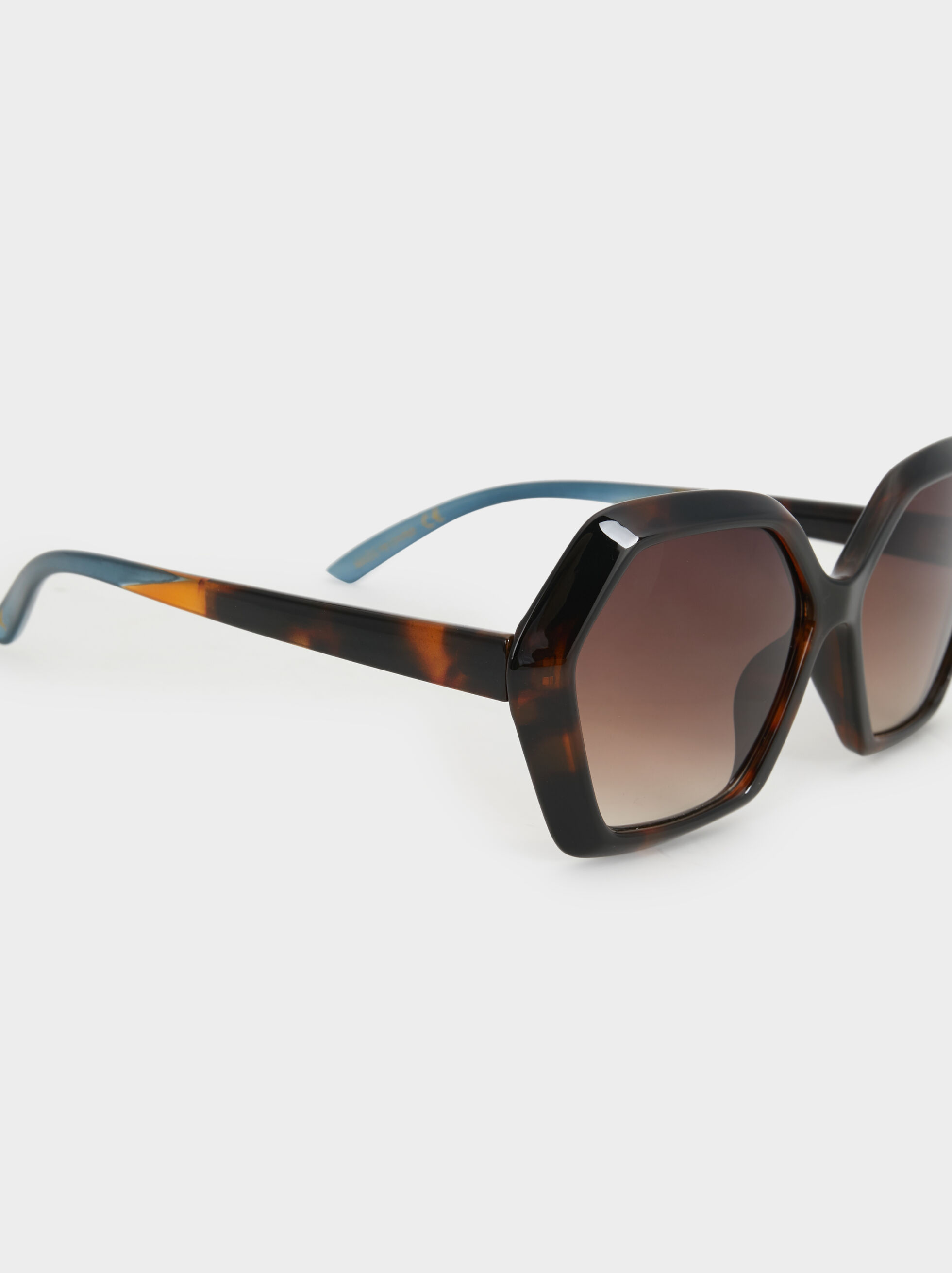 Tortoiseshell Geometric Sunglasses, Multicolor, hi-res