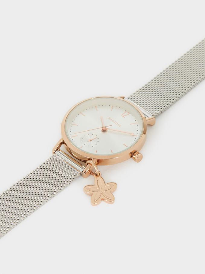Reloj Correa De Malla Metálica Detalle Flor, Plateado, hi-res