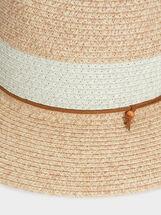 Faux Raffia Hat , Beige, hi-res