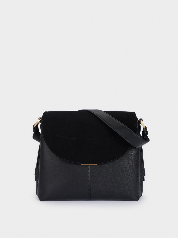 Suede Shoulder Bag With Flap Closure, Black, hi-res