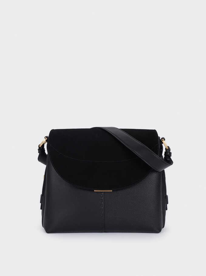 Suede Shoulder Bag With Flap Closure, Black, hi-res