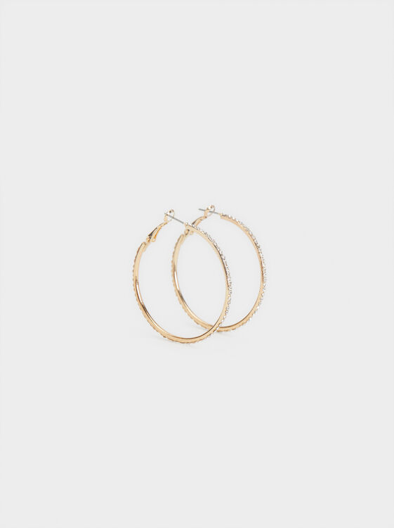Large Hoop Earrings With Rhinestones, , hi-res