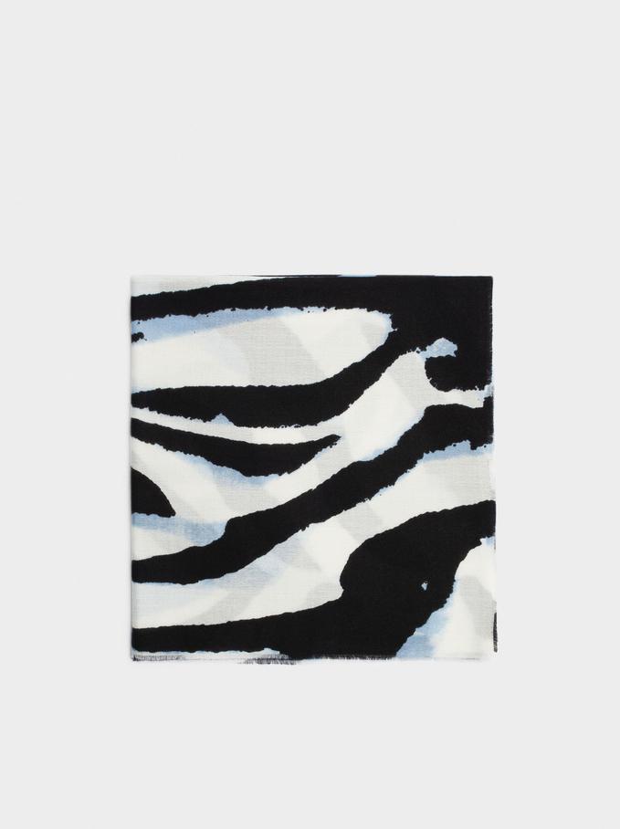Cachecol Maxi Com Estampado Animal, Azul, hi-res