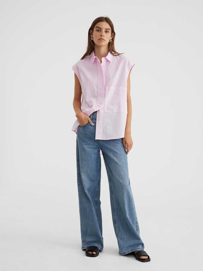Oversized Sleeveless Shirt, Pink, hi-res