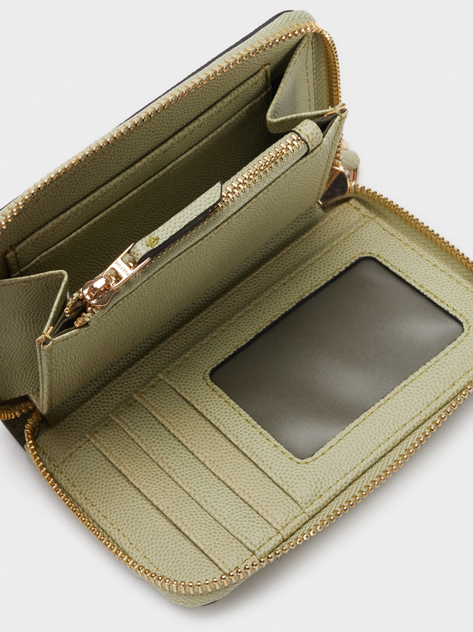 Embossed Compact Purse, Green, hi-res