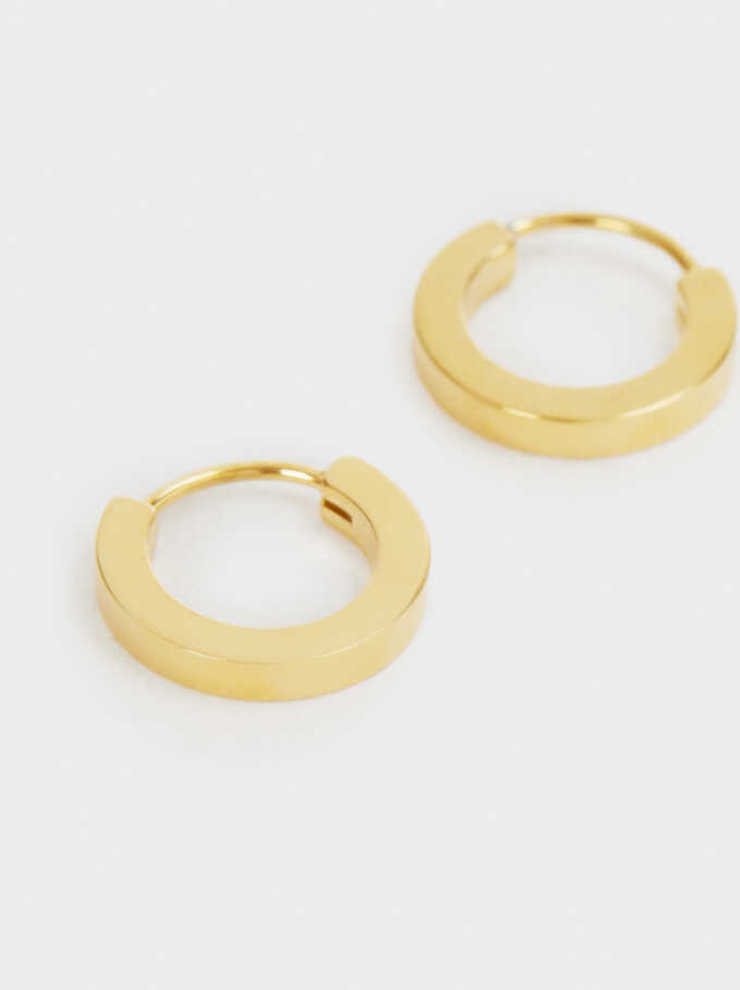 Small Gold Stainless Steel Hoop Earrings, Golden, hi-res