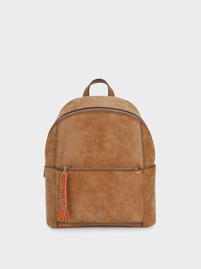 Backpack With Outer Pocket, Camel, hi-res