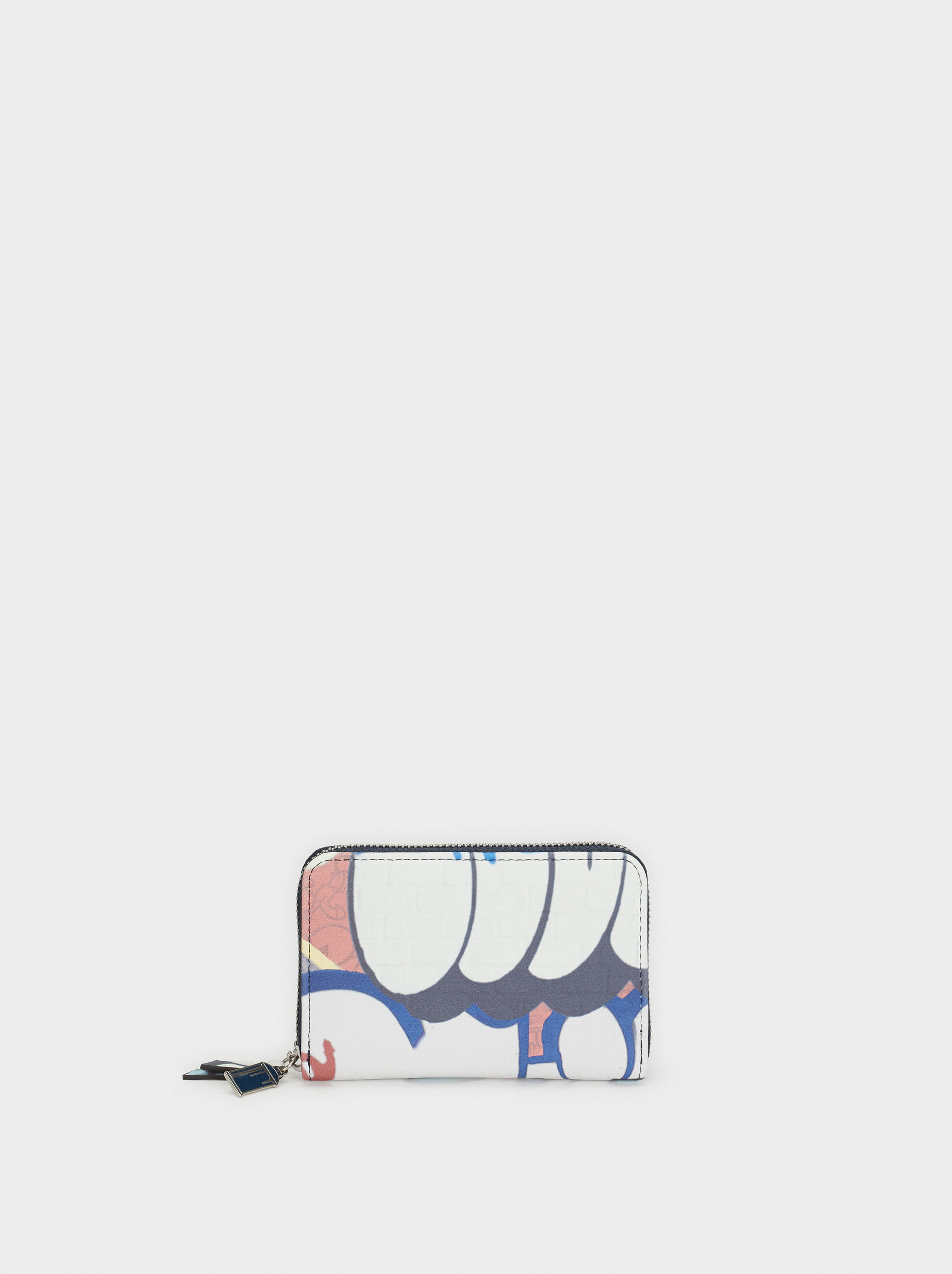 Small Graffiti Print Purse, Blue, hi-res