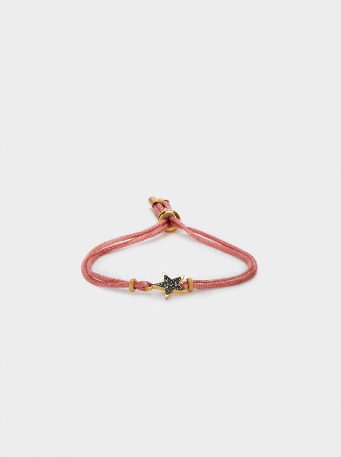 Adjustable Steel Bracelet With Star, Pink, hi-res