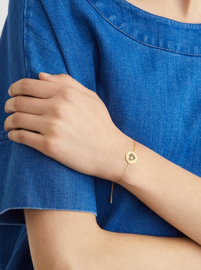 Bracelet Réglable En Argent 925 Cœur, Doré, hi-res