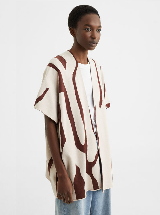 Animal Print Wool Poncho, Ecru, hi-res