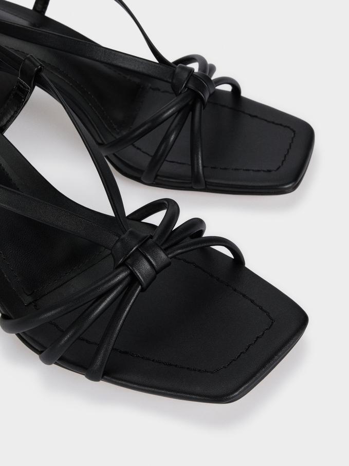 Mid-Heel Sandals With Straps, Black, hi-res