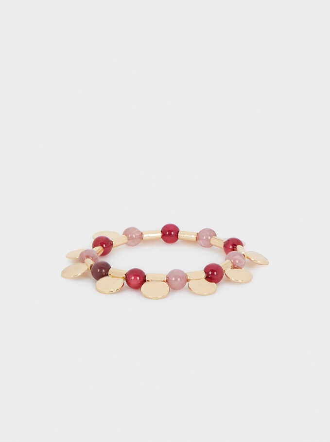 Elasticated Bead Bracelet, Red, hi-res