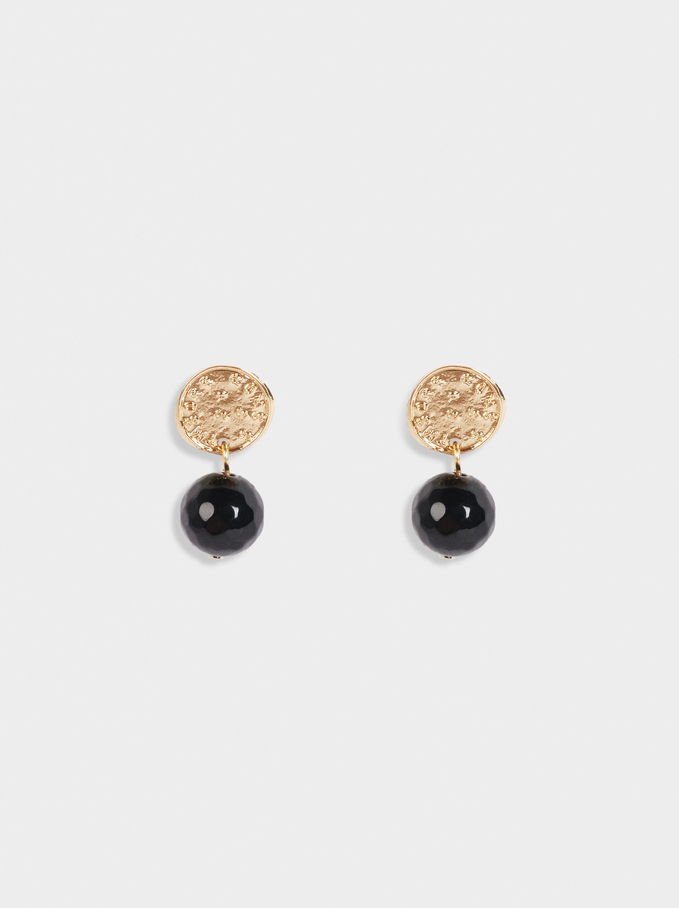 Short Earrings With Gem, Black, hi-res