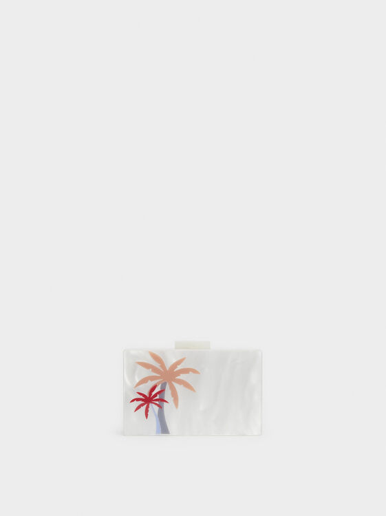 Palm Tree Party Clutch, White, hi-res