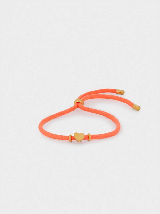 Adjustable Bracelet With Steel Heart, Coral, hi-res
