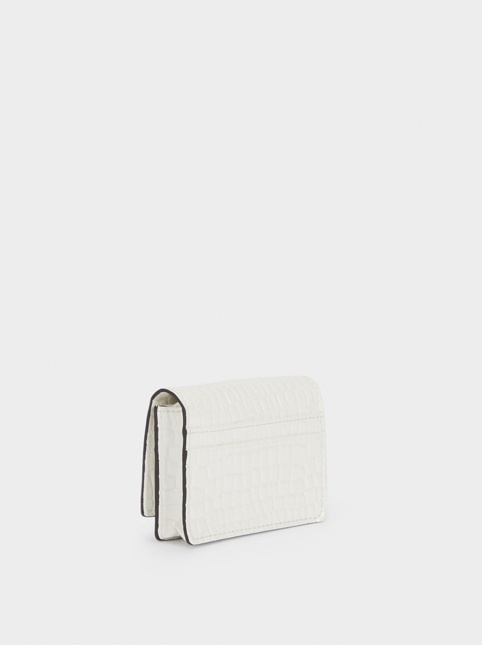 Embossed Card Holder With Coin Purse, White, hi-res