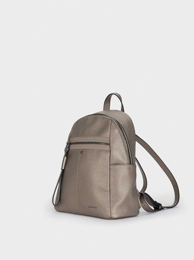 Backpack With Outside Pocket, Silver, hi-res
