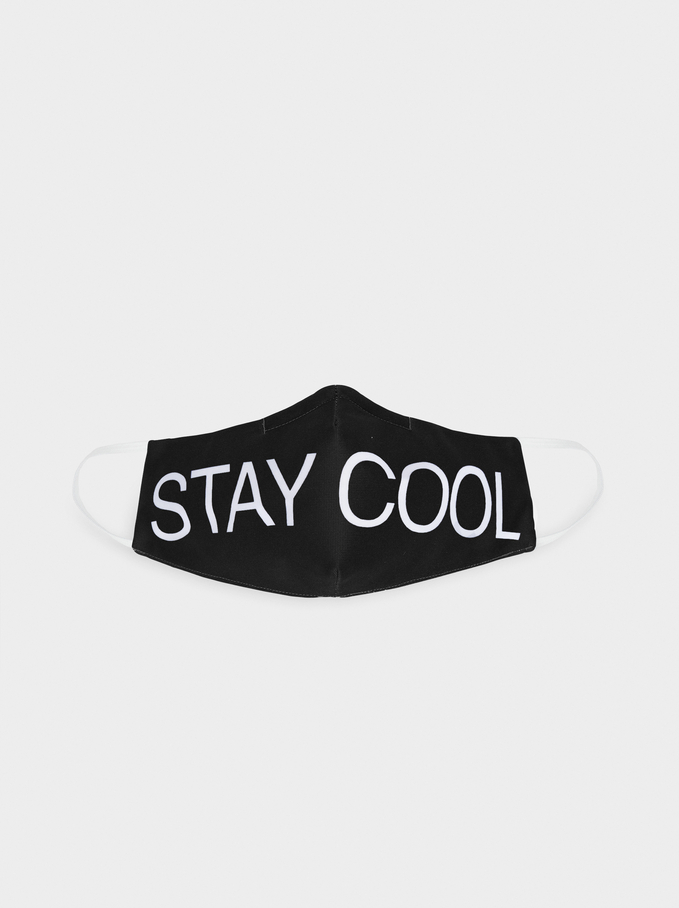 Stay Cool Print Reusable Face Mask, White, hi-res
