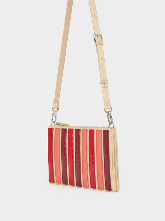 Striped Handbag, Red, hi-res