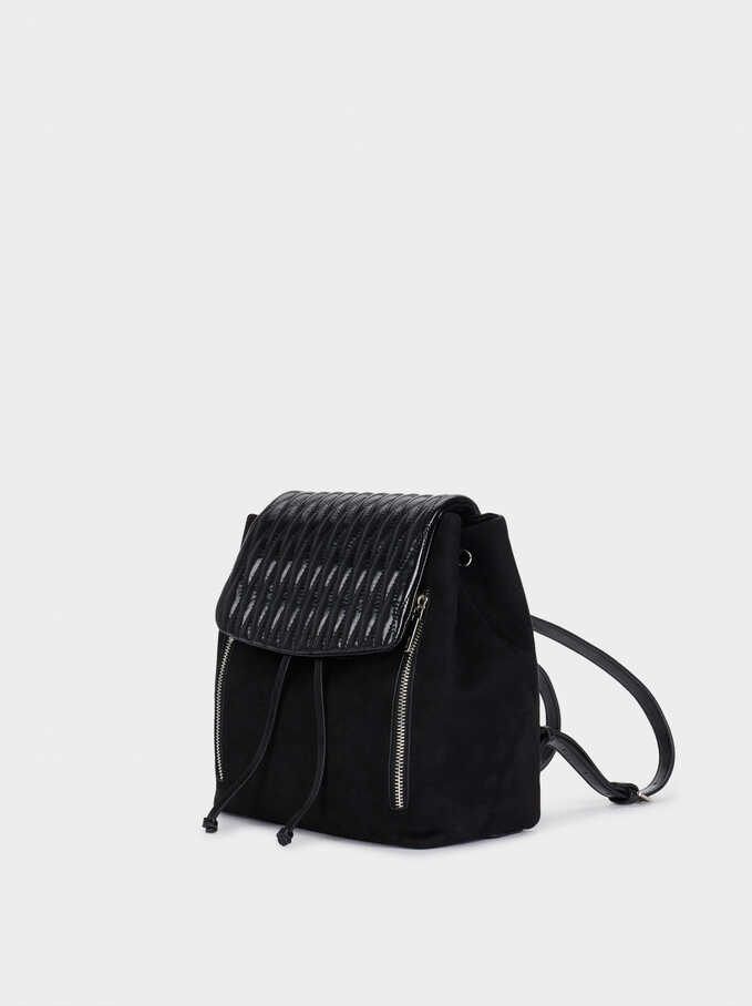 Backpack With Quilted Flap, Black, hi-res