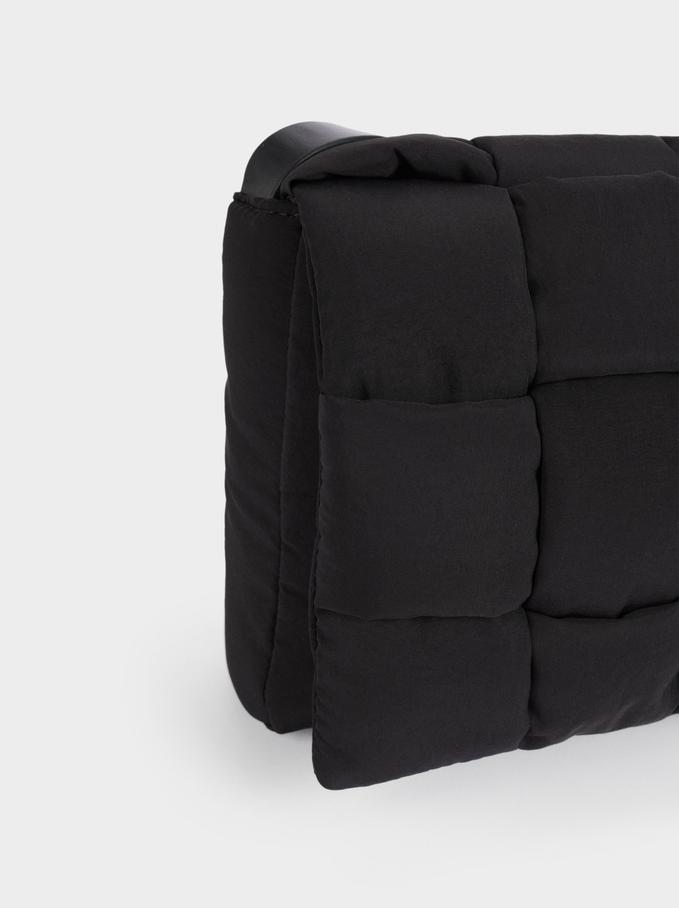Bolso Bandolera De Náilon Confeccionado Con Materiales Reciclados, Negro, hi-res