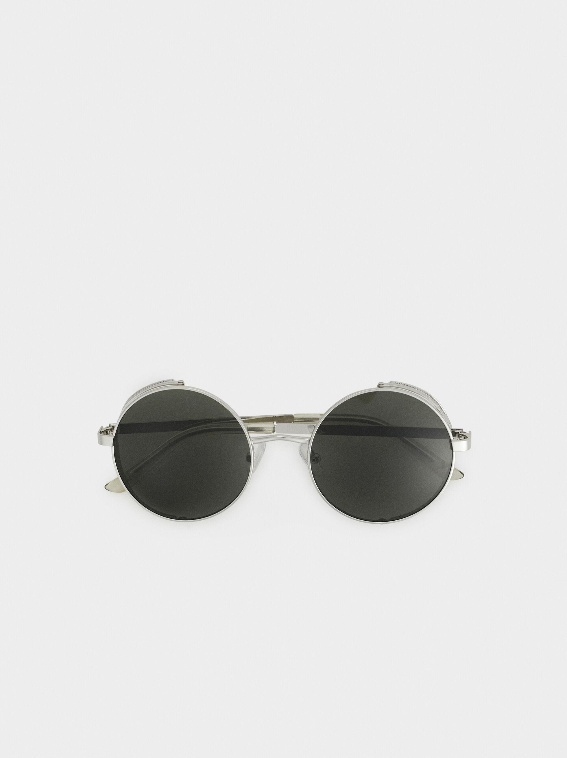 Round Sunglasses, Silver, hi-res