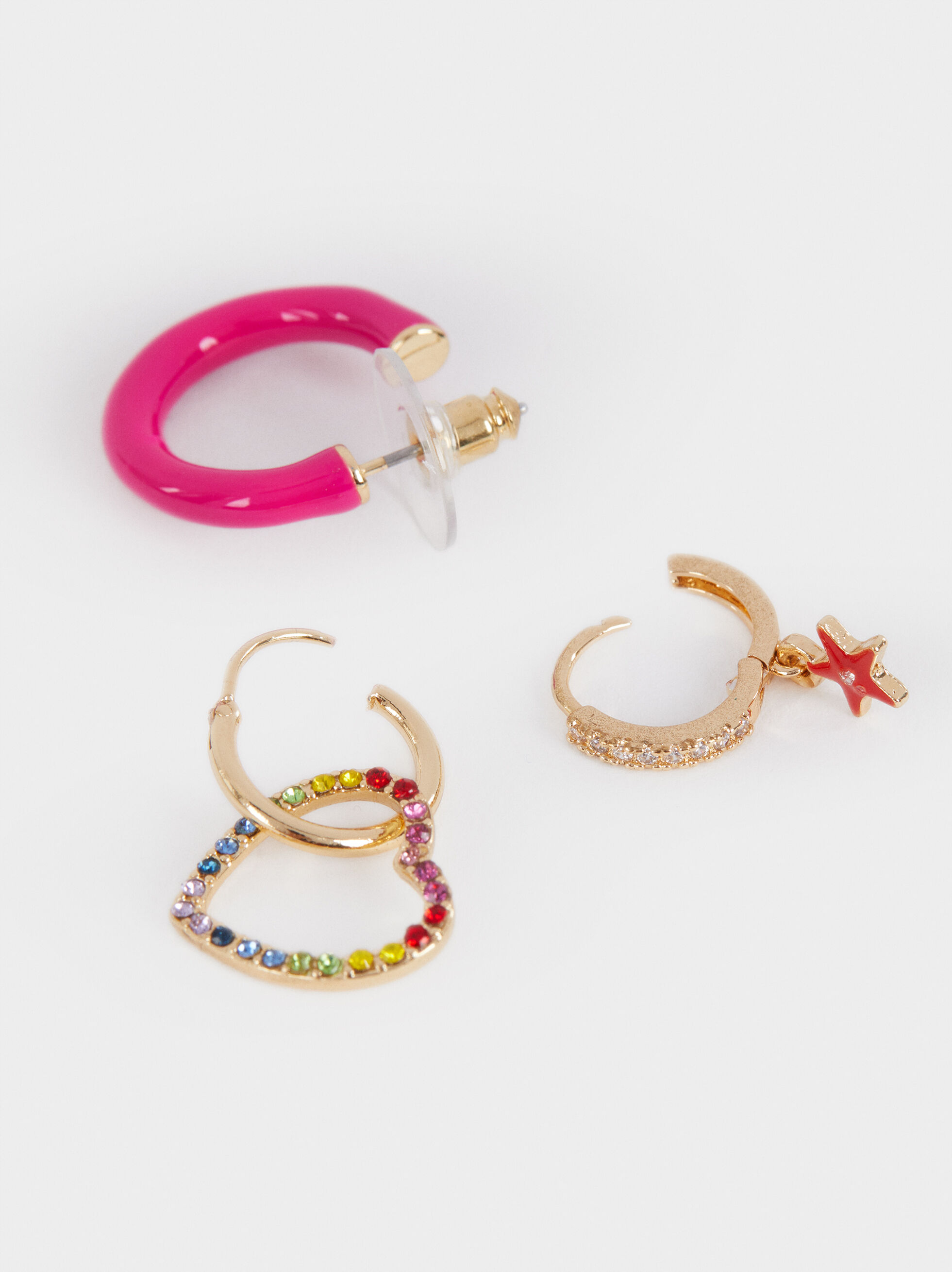 Set Of Multicoloured Hoop Earrings With Heart, Multicolor, hi-res