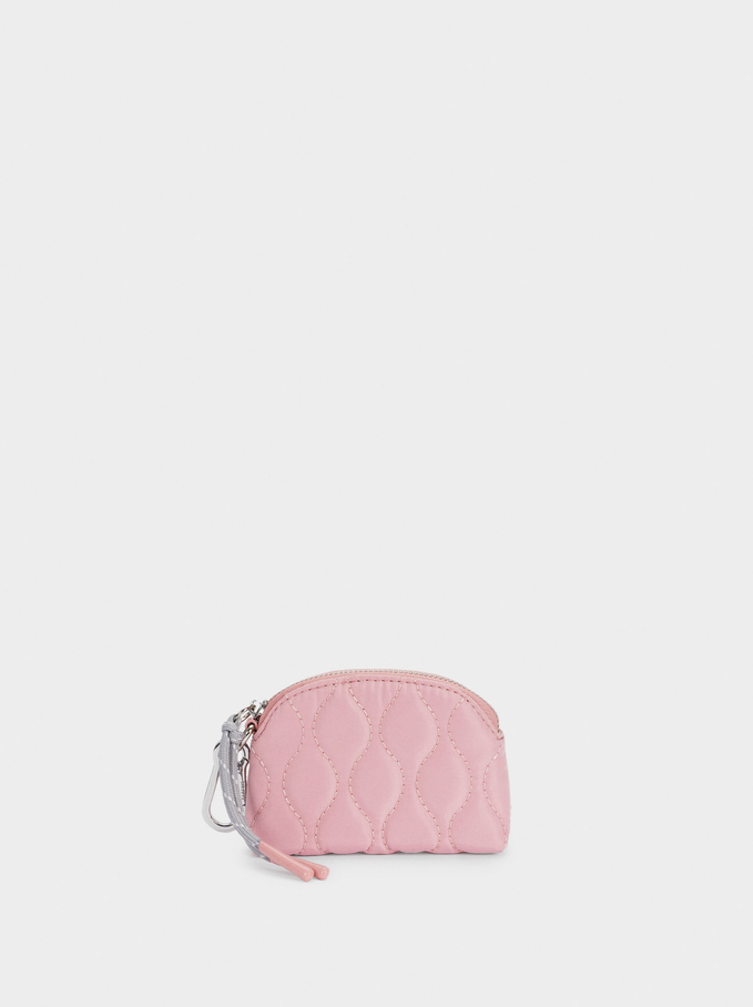 Quilted Nylon Coin Purse, Pink, hi-res