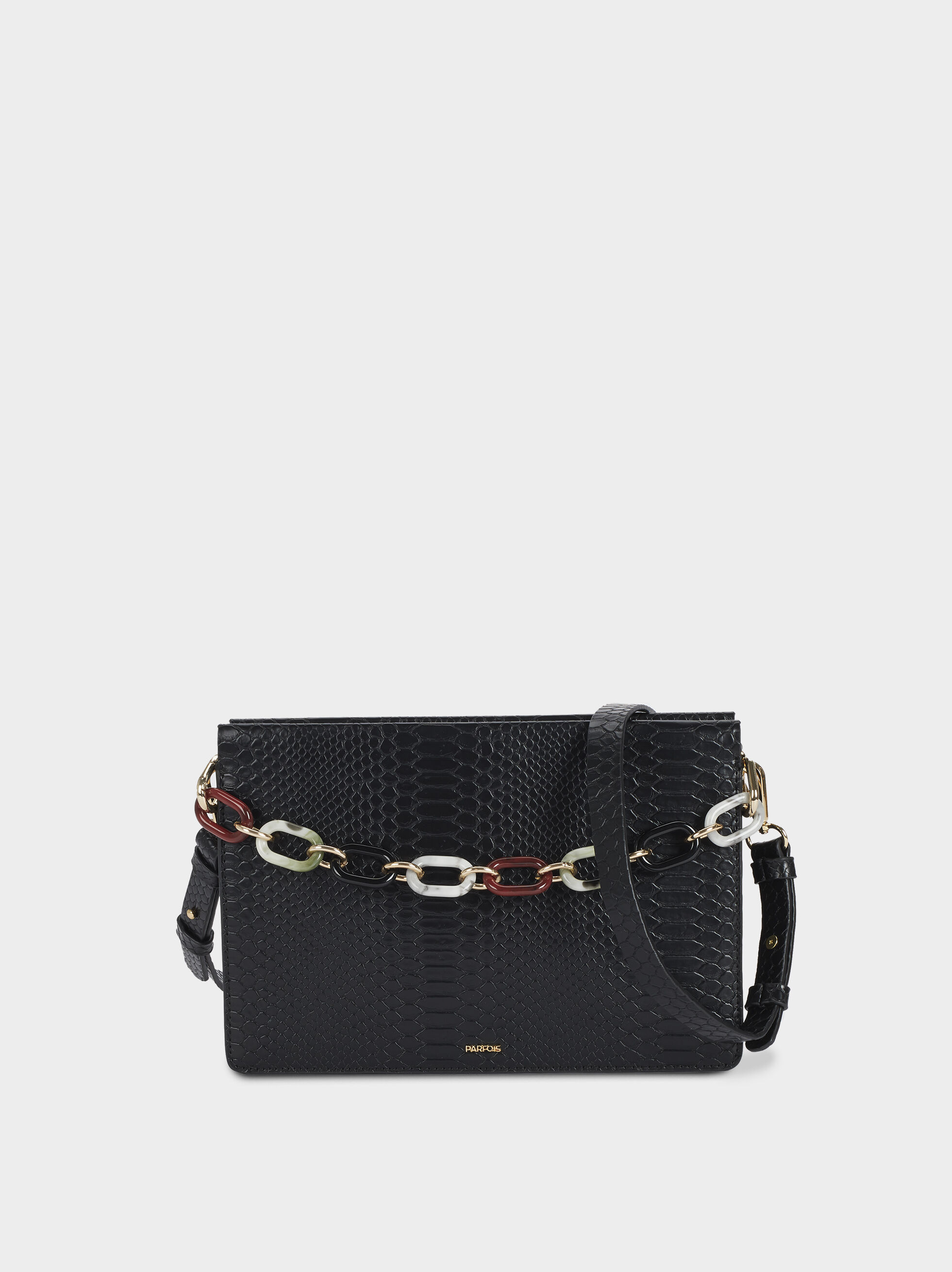 Handbag With Multicoloured Chain-Link Handle, Black, hi-res