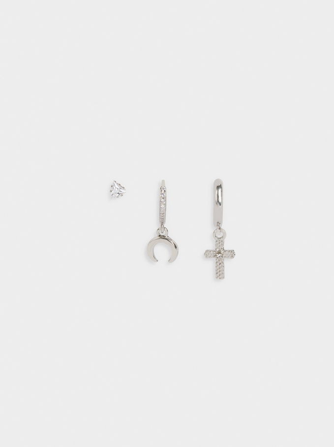 Set Of Earrings With Charms And Crystals, Silver, hi-res