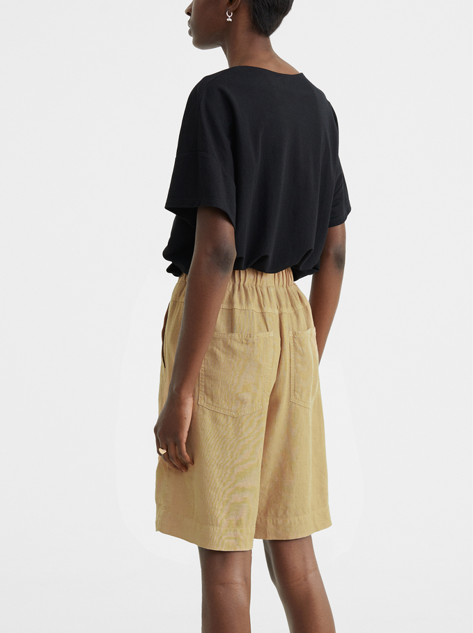 Short Linen Trousers With Pockets, Beige, hi-res