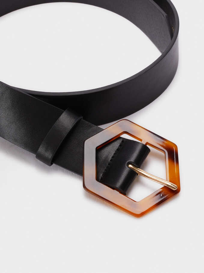 Belt With Tortoise-Shell Buckle, Black, hi-res
