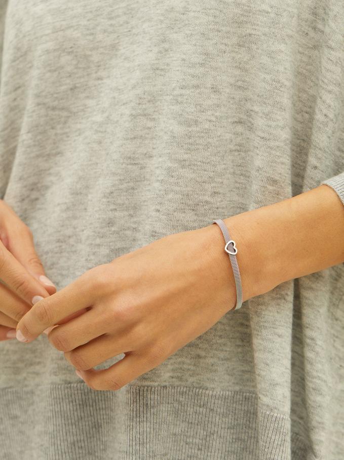 Steel Bracelet With Heart, Silver, hi-res
