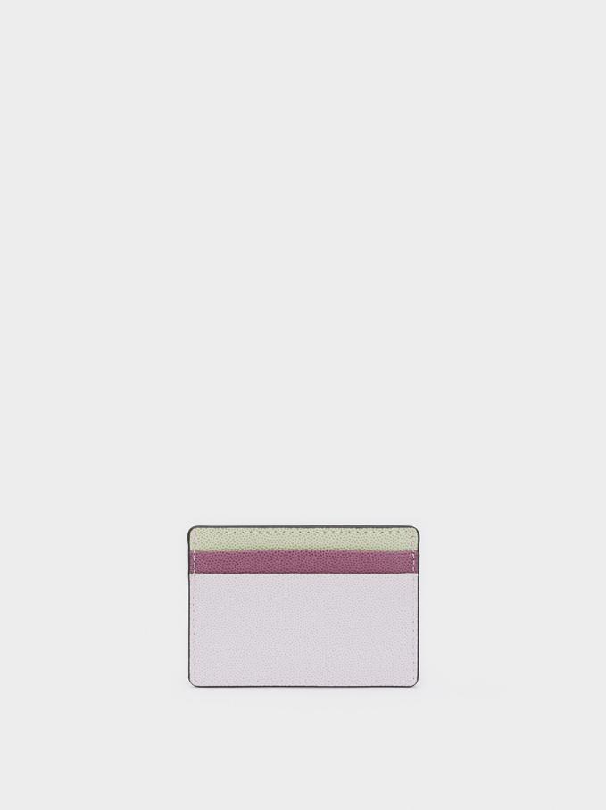 Multicoloured Embossed Card Holder, Violet, hi-res