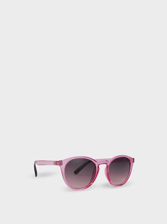 Round Plastic Frame Sunglasses, Pink, hi-res