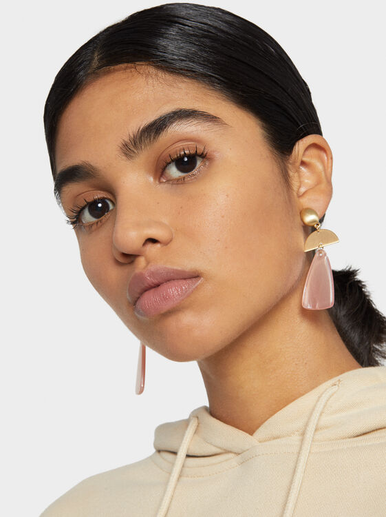 Stone Story Multicoloured Long Earrings, Pink, hi-res