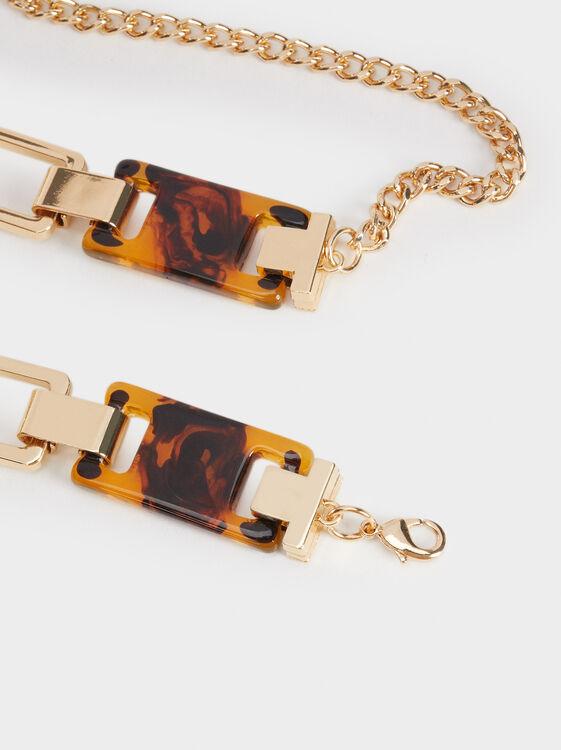 Belt With Tortoiseshell Detail, Golden, hi-res