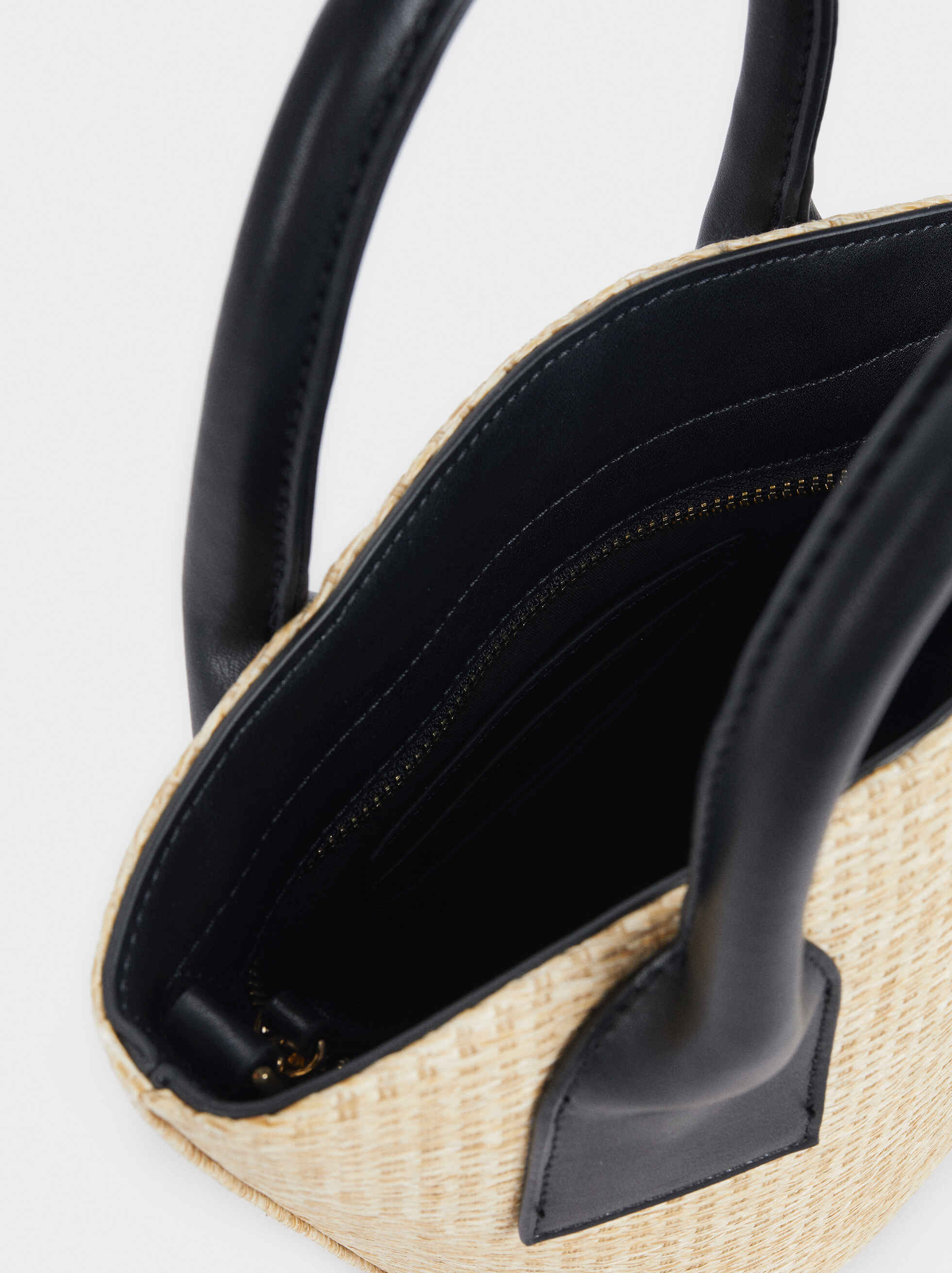 Raffia Textured Crossbody Bucket Bag, Ecru, hi-res