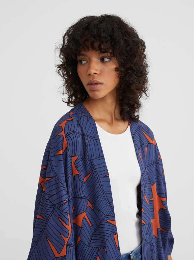 Kimono Abierto Estampado , Azul, hi-res