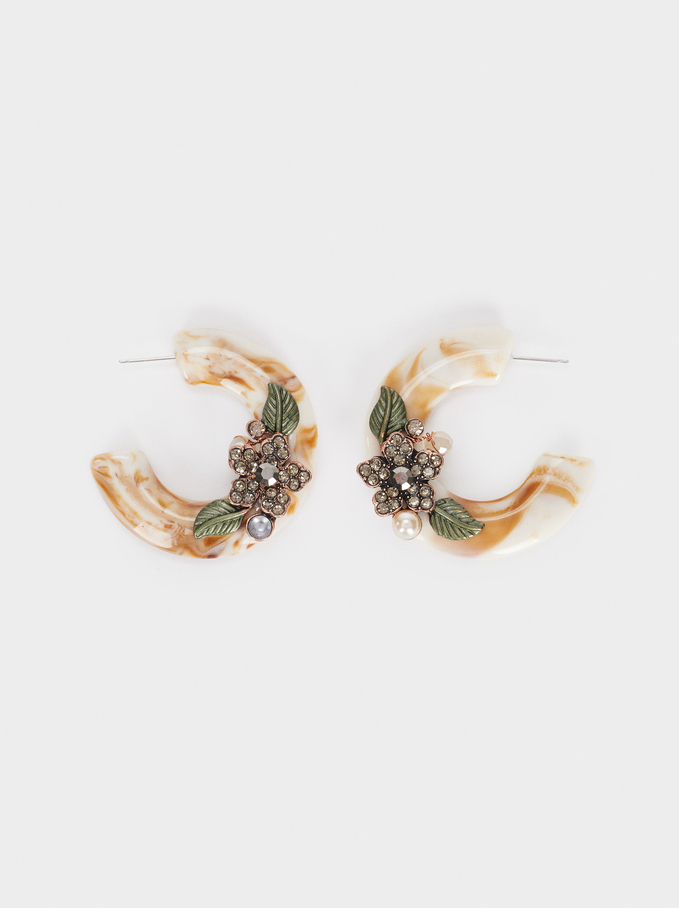 Hoop Earrings With Flowers And Crystals, Multicolor, hi-res