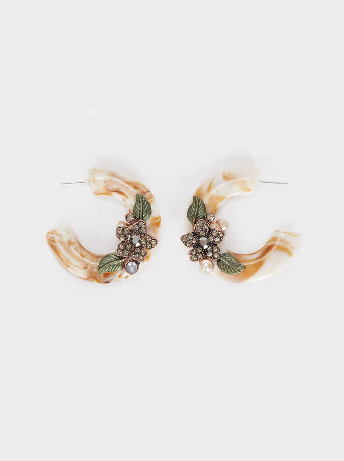 Medium Hoop Earrings With Multicoloured Flowers And Crystals, Multicolor, hi-res