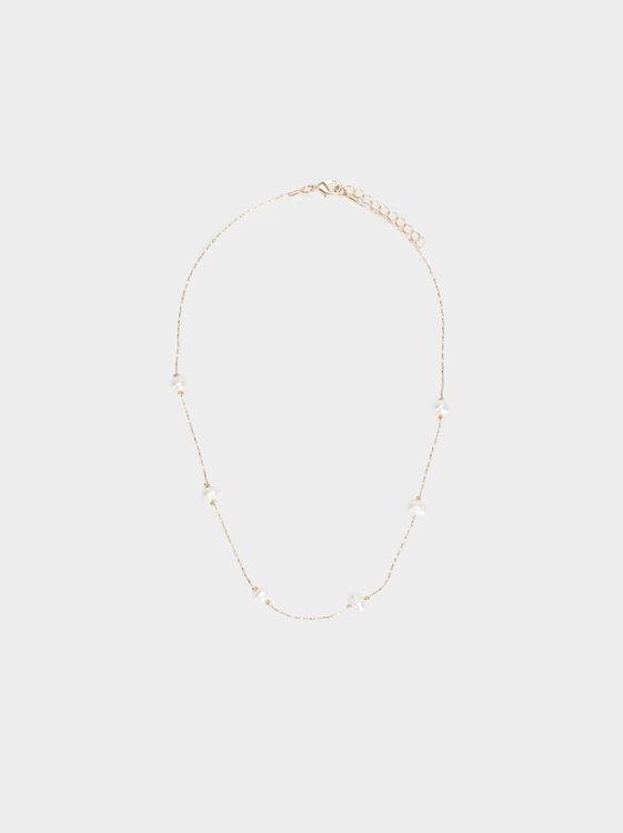 Short Faux Pearl Necklace, , hi-res
