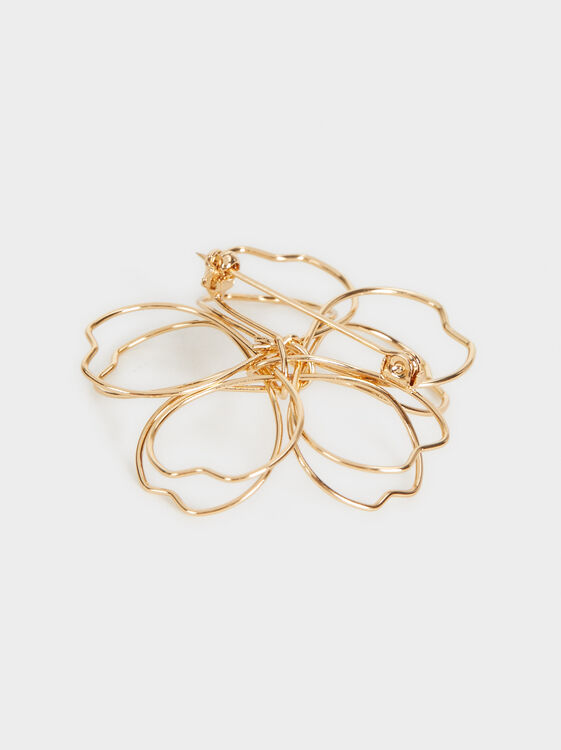 Flower Brooch, Golden, hi-res
