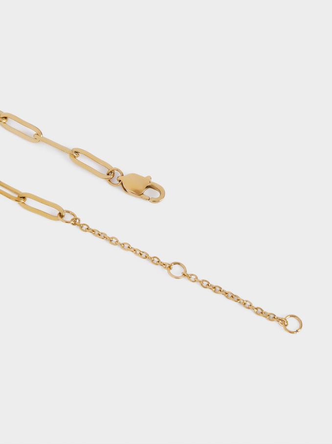 Steel Bracelet With Heart, Golden, hi-res
