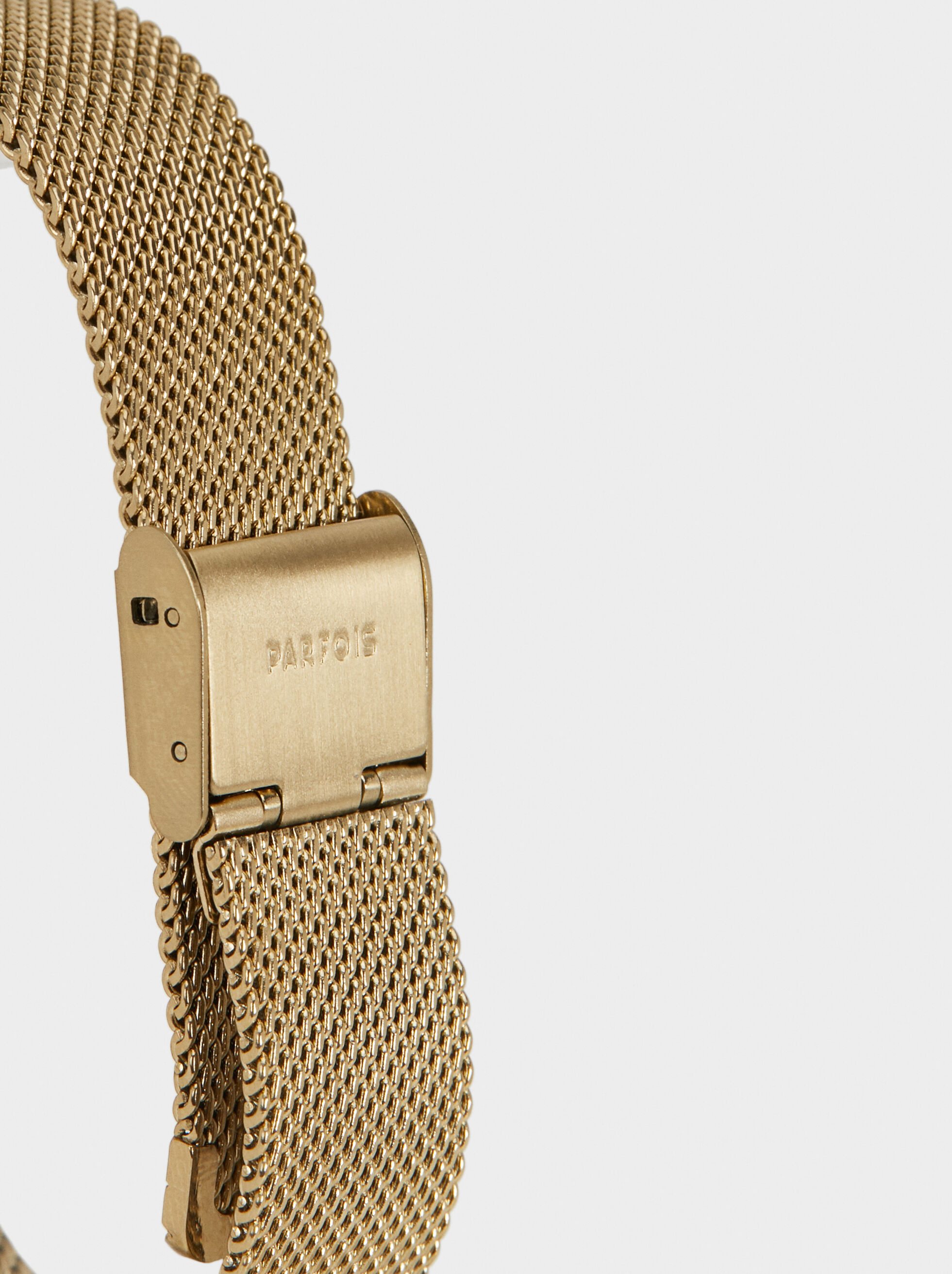 Watch With Metallic Mesh Wristband, Golden, hi-res