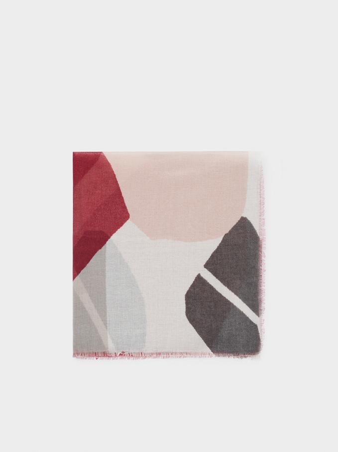 Pañuelo Estampado Multicolor, Burdeos, hi-res