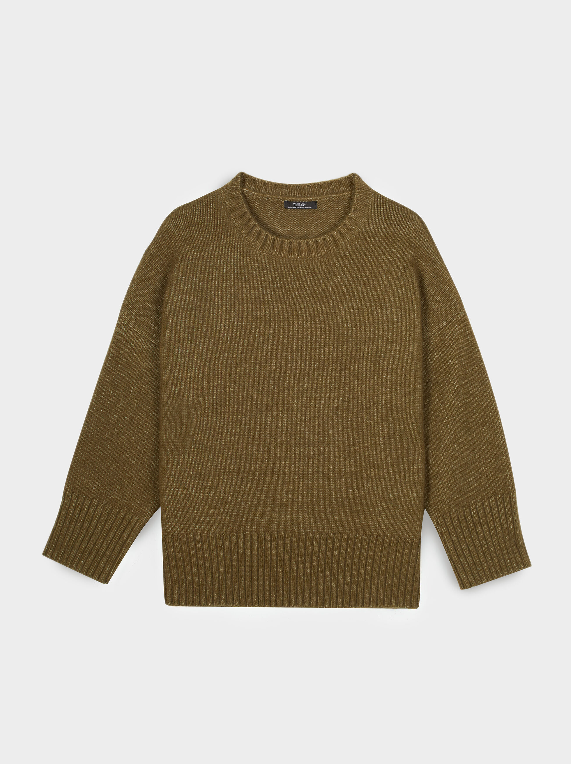 Knit Sweater With Ribbed Cuffs, Green, hi-res